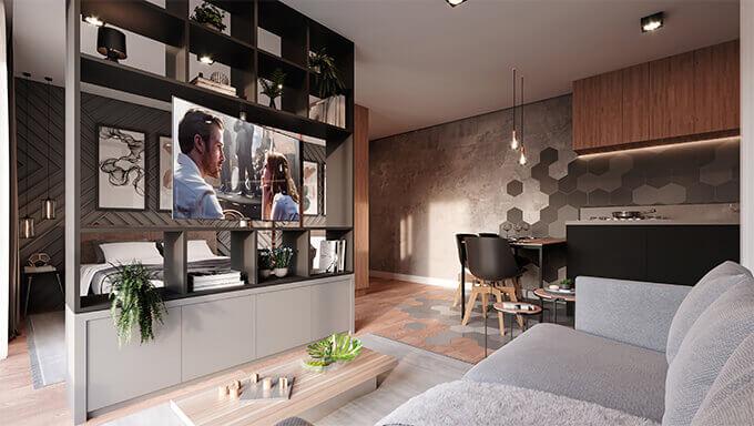 Imagem do quarto do Studio Hub